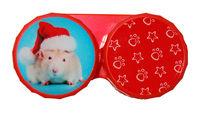Ozdobné púzdro vianočné - Škrečok s čiapkou