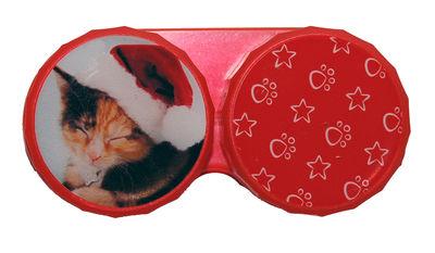 Ozdobné púzdro vianočné - Mačka tmavá s čiapkou
