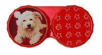 Ozdobné púzdro vianočné - Pes s čiapkou v červenom