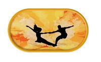 Púzdro so zrkadielkom Tanečný motív - Tmavo  žlté