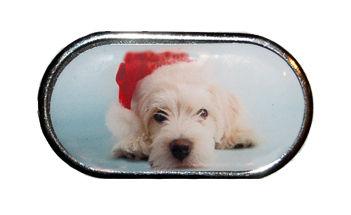 Púzdro so zrkadielkom Vianočný motív - Dlhosrsté šteňa v čiapke