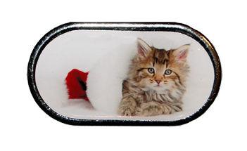 Púzdro so zrkadielkom Vianočný motív - Mačiatko ležiace v kulichu