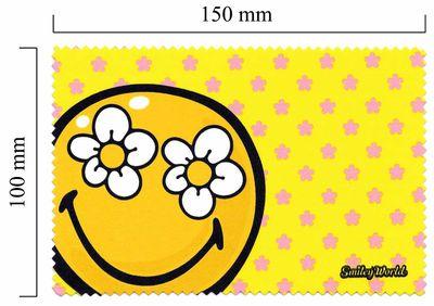 Handričku na okuliare z mikrovlákna Smiley - žltý kvet